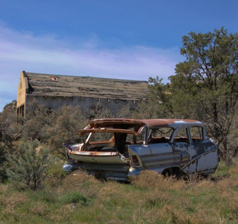 Clarkdale,abandoned '58 Buick, Rusty old car, abandoned developement