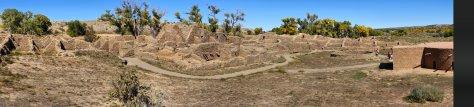 Aztec Ruins National Monument, Anciet Puebloan ruins, ruins, panorama of site, Indian ruins,