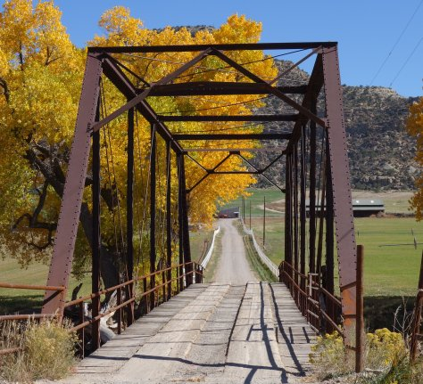 old bridge, cottonwood trees, autumn, Animas River, Riverside New Mexico
